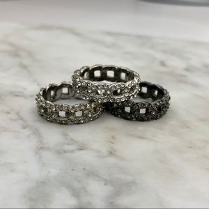 Set of 3 Pavé Link Stack Rings